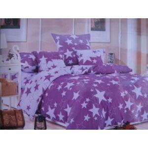 Minőségi ágynemű 100% pamut  6 részes lila csillagokkal