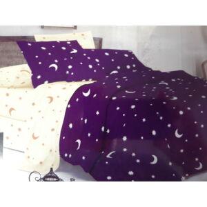 Minőségi ágynemű 100% pamut  7 részes lila-sárga színben csillagokkal