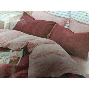 Minőségi ágynemű 100% pamut  7 részes bordó-rózsaszín szórt mintával