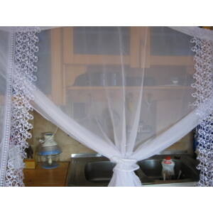 függöny fehér csipkével 380cmx150cm