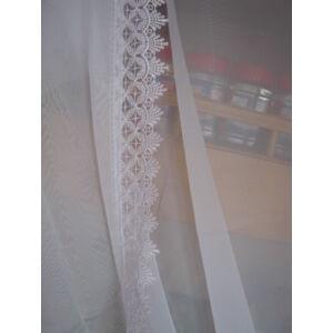 függöny fehér csipkével lila szegéllyel 360cmx150cm