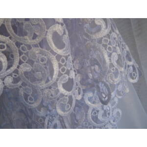 Egyszerűen elegáns, fehér függöny 300x180cm csipkebetéttel