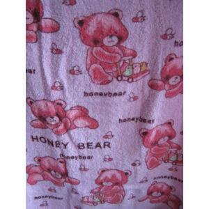 Törölköző rózsaszín színben sok-sok macival 47x95cm