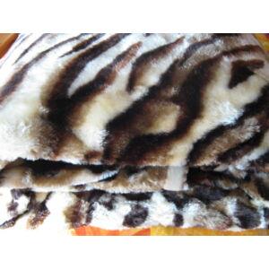 Vastag leopárdpöttyös-csíkos takaró/ pléd 230cm x 180cm