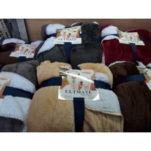 Wellsoft  takaró/pléd bélelt, vastag, mogyoró színben 200cm x 230cm