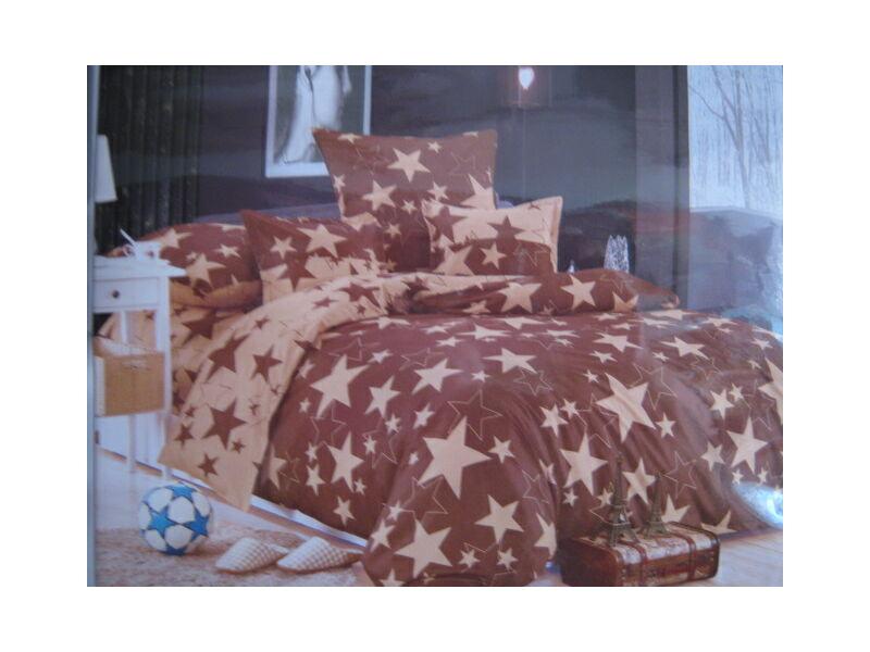 Minőségi ágynemű 100% pamut  6 részes barna  csillagokkal