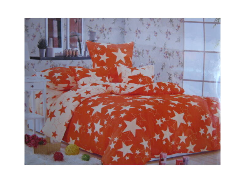 Minőségi ágynemű 100% pamut  6 részes narancs  csillagokkal