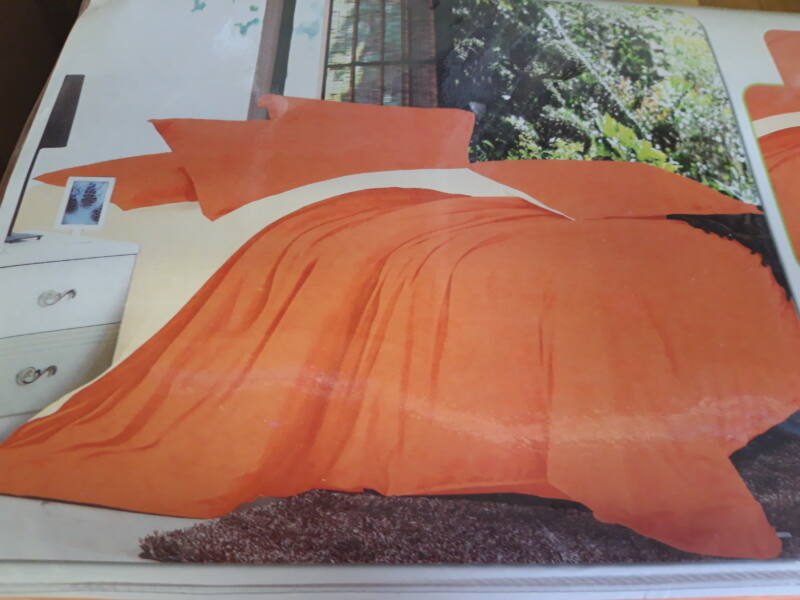 Minőségi ágynemű 100% pamut  7 részes narancs-sárga színben