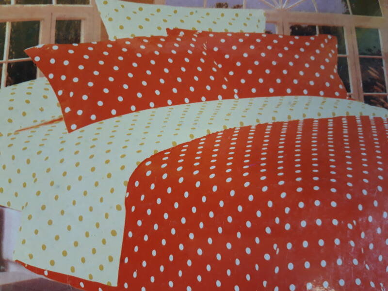 Minőségi ágynemű 100% pamut  7 részes narancs-sárga színben pöttyökkel