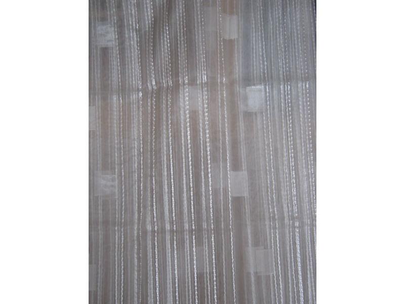 fehér függöny csíkos-kockás mintával 300cm x 250cm
