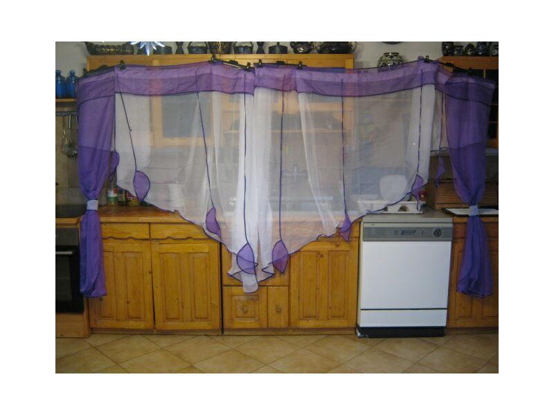 Különleges, egyedi függöny lila- fehér színben 740x150cm